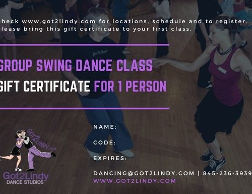 Gift Certificate - Grp swing dance class for 1