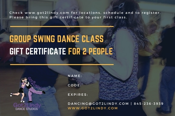 Gift Certificate - Grp swing dance class for 2